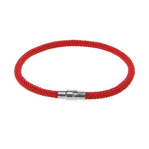 Fahou Bracelets tressés Noirs Rouges Chanceux de Kabbalah avec des Bijoux de Fermoir (R)