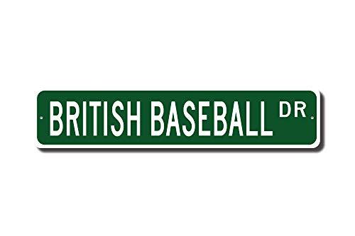 """mengliangpu8190 4"""" x 18"""" Tin Sign, Aluminum Sign, British Baseball, British Baseball Gift, British Baseball Sign, British Baseball Fan, UK Game, Custom Street Sign, Metal Sign"""