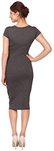 Happy Mama. Damen Umstands Figurbetontes Kleid. Schwangerschaftskleid. 183p Graphit Melange