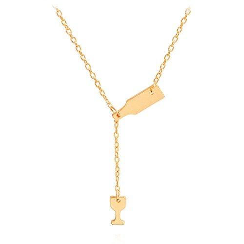 ier Tasse Anhänger Y Halskette, Frauen Halskette Weinflasche Tasse Anhänger Kette Halskette Pullover Ketten Charme Zubehör, Golden ()