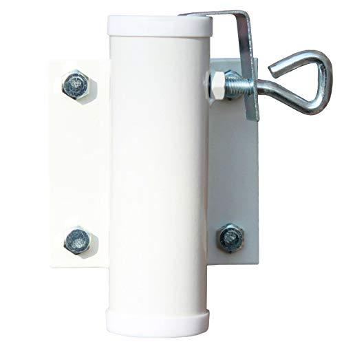 Videx Sonnenschirmhalter Wand weiß, Ø Schirmstock bis 40 mm, sehr stabil, Sonnenschirm Balkon Halterung Schirmstock Befestigung -