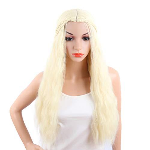 Longue Vague Stylisée Tresse Blonde Synthétique Cosplay Perruques Game of Thrones Halloween Partie Pleine Tête Perruque Targaryen Cosplay Perruques pour Game of Trônes Khaleesi 70cm (Perruque Halloween Blonde)