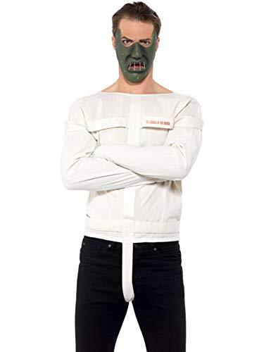 Halloweenia - Herren Männer Hannibal Lecter Schweigen der Lämmer Kostüm Set mit Maske und Zwangsjacke, perfekt für Karneval, Fasching und Fastnacht, L, - Hannibal Lecter Zwangsjacke Kostüm