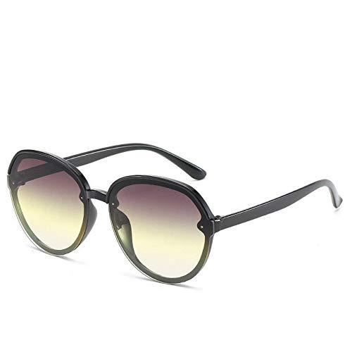 WDDYYBF Sonnenbrillen, Casual Übergroße Aviator Sonnenbrille Für Frauen Männer Aus Magnesiumlegierung Fashion Beach Reise Uv400 Dunkelgrün Rahmen Gradient, Gelbe Linse