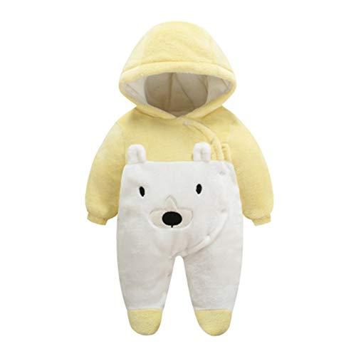 Baby Strampelanzug mit Füssen, Mütze für Jungen und Mädchen, mit Kapuze, für 0-12 Monate, Halloween, Cosplay-Kostüm 3-6 Monate gelb