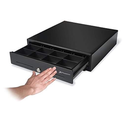 Phoenix Technologies - Cajón portamonedas manual con pulsador para dinero en efectivo con cerradura y botón de apertura 4 compartimentos de billetes y 8 de monedas negro 41x42cm
