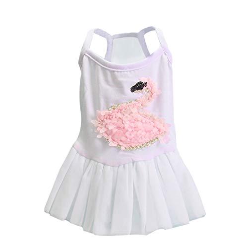 YWLINK Mode Haustier Mesh Patchwork Kleid 3D Schwan Drucken Hochzeit Party Haustier Hund Kleidung(Weiß,M)