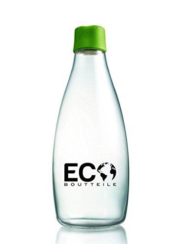 Glas Trinkflasche to go 830ml von ECOBoutteile | umweltfreundliche Wasserflasche aus Glas Sportflasche Water Bottle Getränkeflasche Smoothie Glasflasche für unterwegs | gesunde Trinkflasche BPA-frei