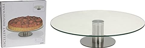 30cm Glass Lazy Susan Rotating Turntable Serving Tray Cake Decorating