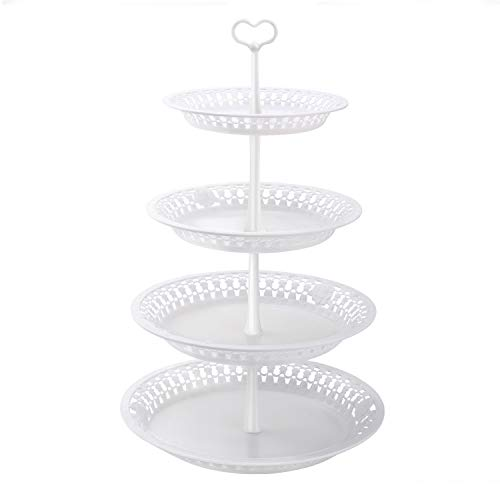 Nuovoware 4-Tier Cake Stand, Fruit Plate Desserts Cupcake Candy Buffet Plate Plastic Stand Display Tree Tower Stand for Wedding Home Birthday Festival Party, 4 Tier Round Serving Platter, White