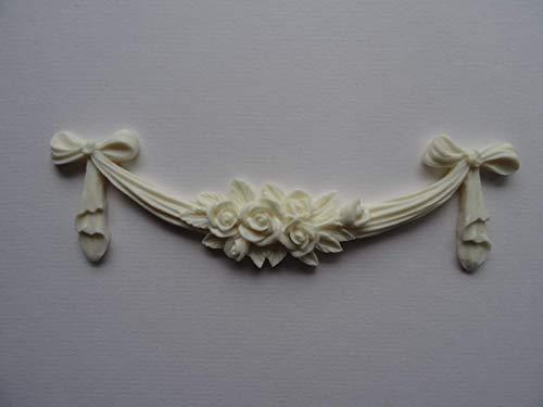 Dekorative Rose Swag Schleife Aufnäher Shabby Chic Möbel Zierleiste RSB1(Off Weiß) Weiße Rose Swag