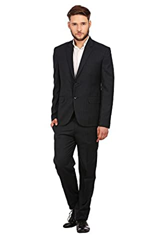 Wintage Men's PV Merino Wool Blend Notch Lapel Pin Stripe Suit: Navy, Medium