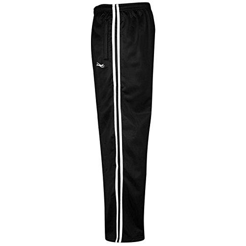 MyShoeStore Mens Track Suit Bottom Casual Elasticated Waist Tracksuit Bottoms Silky Joggers Jogging Jog Trousers Comfortable Leisure Gym Sports Yoga Open Hem Pull ON Stripe Pants