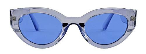 amashades Cat Eyes Damen Retro Sonnenbrille 60er Jahre breiter Rahmen farbig transparent bunt Cateye Beatnik Mods SP37 (Flieder transparent)