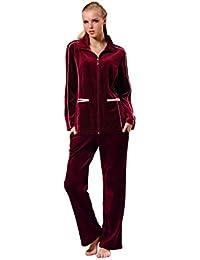 RAIKOU Hausanzug Damen Freizeitanzug Velours Nicki Schlafanzug Nicki-Anzug mit Samt Jogginganzug Trainingsanzug mit Reißverschluss und Satinband