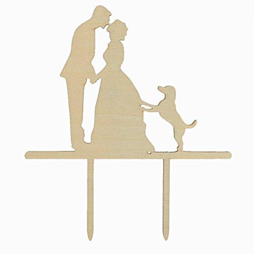 UEETEK Hölzerne küssen Bräutigam Braut und Hund Silhouette Cake Topper für Hochzeit-Dekor