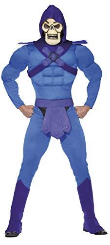 Smiffys Herren Skeletor Kostüm, Muskel-Kapuzen-Jumpsuit, Gürtel, Überstiefel und Maske, He-Man, Größe: M, 34805 (Mad Men Kostüm Party)