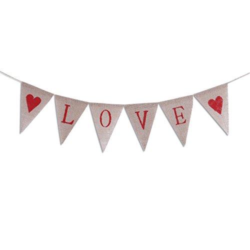 nner Valentine 's Day Wimpelkette Flaggen Dekoration rustikale Jute Jute Pennant Hochzeit Verlobungsring Dekorationen Partyzubehör ()