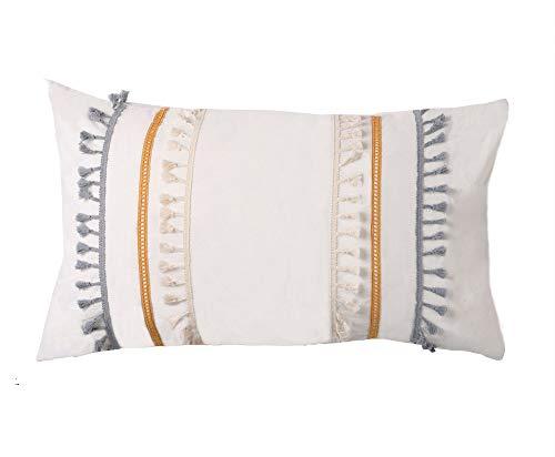 Flber US Quasten Sham Set Boho Baumwolle Kissenbezüge, 47 x 74 cm, 2 Stück -