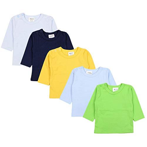 TupTam Baby Jungen Langarmshirt Gestreift 5er Set, Farbe: Mehrfarbig 2, Größe: 80 -