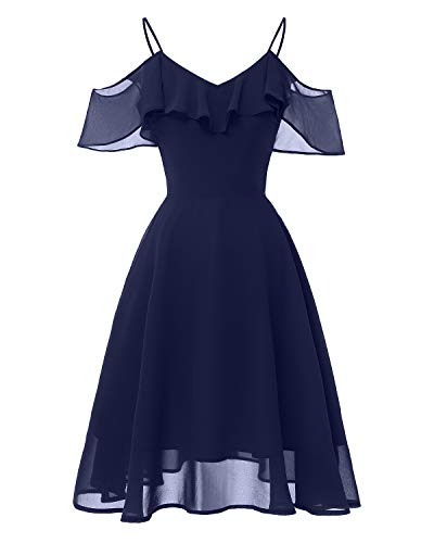 MBYXHW Frauen Lace Sheer Chiffon Elegante Party Cocktail Abendkleid-Top Elegante Frauen Lace Dress Off Shoulder Eine Linie Swing knielangen,Blue,S