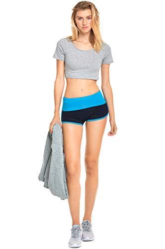 Delfine T-shirt Sweatshirt (Mopas Damen Hose, hohe Taille, Bauchkontrolle, sehr weiche Baumwolle, Yoga Shorts - Blau - Groß)