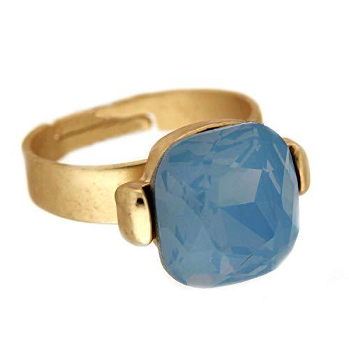 Sweet Deluxe Ring Riana, mattgold/blau I Damen-Ring I Mode-Schmuck Ring für Frauen I Ringe Rings für Mädchen I modisches - Kostüm Schmuck Diamant Ring