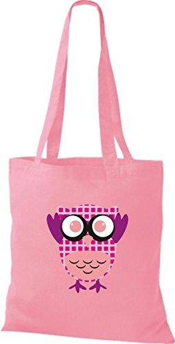 ShirtInStyle Jute Stoffbeutel Bunte Eule niedliche Tragetasche mit Punkte Owl Retro diverse Farbe, rot rosa