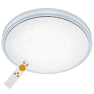 Briloner Leuchten LED Deckenleuchte, dimmbar, Farbton einstellbar: warm weiß-kalt, Deckenlampe inkl. Nachtlicht-Funktion, Timerfunktion, Fernbedienung, Metall, Integriert, 18 W, D: 38.5 cm