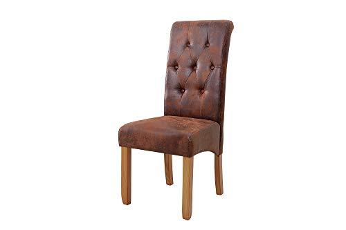 DuNord Design Esszimmerstuhl 2er Set braun Vintage Stuhl antik Optik Esszimmerstühle 2er