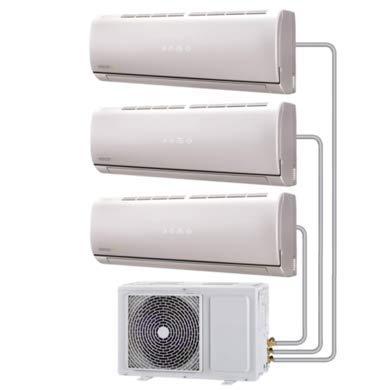Multi-Split 27000 BTU Smart Inverter Air Conditioner System with Three 9000 BTU Indoor Units to a Single Outdoor Unit