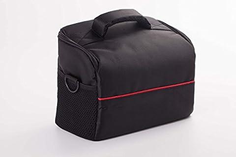 vhbw XL Universal Tasche schwarz rot für Kamera, Camcorder, Fotoapparat Nikon D5000, D5100, D5200, D5300, D5500, D60, D600, D610, D70, D700