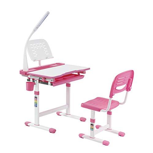 tischstuhl mit LED-Lampe, höhenverstellbares Sitzpolster, ergonomischer Kindertisch und Stuhl, Sprite mit Lampe, Rosa ()
