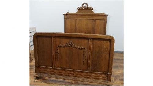 Antikes Bett (Bett Antik Massivholz Spiegel Kleiderschrank 1900 Niederrhein 130x200)
