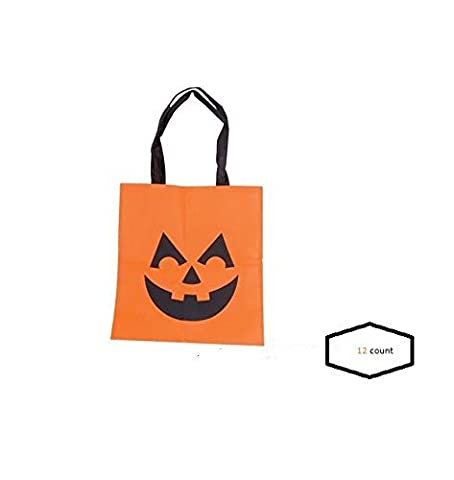 (12) Halloween Trick or Treat Tote Bags ~ Fun Jack o Lantern Fabric Bags ~ Goody Bags ~ Birthday Fundraising Prize Teacher Classroom Gifts ~ Fall Events Fairs School Church ~ 24 New by Mixed
