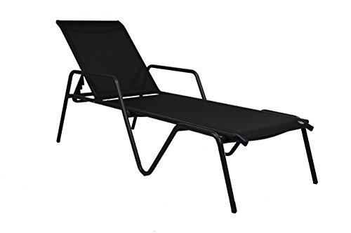 DCB GARDEN Zen-CL Chaise Longue empilable en Aluminium Gris Anthracite et textilène Noir, 135x67x34 cm