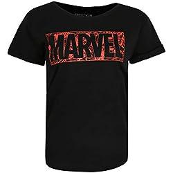 Marvel Comic Logo Camiseta, Negro (Black BLK), 42 (Tamaño Fabricante:Large) para Mujer