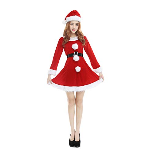 Nicololfle Mrs. Claus Velvet Hooded Ladies Dress,Ladies Fancy Dress Christmas Xmas Womens Adults Costume (Rot mit Hut)