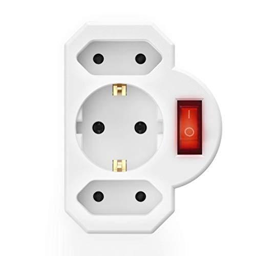 HshDUti Tragbare Eu Typ 3er Steckdose mit Sicherheitsschalter für den Außenbereich, Sichere Haltbare Socket White