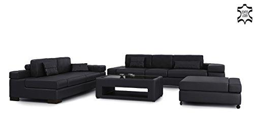 Ledersofa Sofagarnitur Couchgarnitur weiß Ledercouch 3-Sitzer + Daybed + XL Hocker Ecksofa Couch Design Sofa VALENTINO - 5