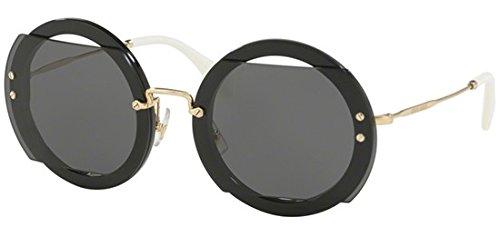 Miu Miu Damen 0MU06SS 1AB1A1 63 Sonnenbrille, Schwarz (Black/Grey),