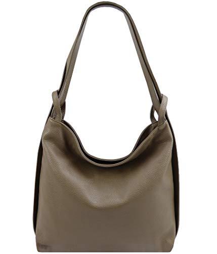 Freyday 2in1 Damen Handtasche Rucksack Designer Luxus Henkeltasche aus 100% Echtleder (Dunkeltaupe) -