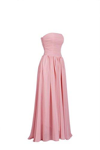 YiYaDawn Langes Trägerloses Brautjungfernkleid Abendkleid für Damen Koralle