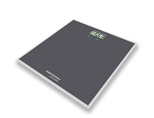 Terraillon Weight Watchers Digitale Personenwaage, 2 Benutzerspeicher, Max. 150kg, Inkl. Elastischem Sportband und Übungshandbuch, Easy Start, Grau