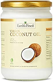 Earth's Finest Virgin Coconut Oil - 500ml | Cold-Pressed Coconut Oil for Cooking, Hair, Body & Massage