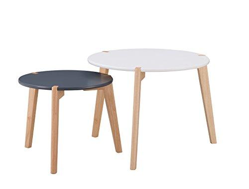 Blanc THE HOME DECO FACTORY Lot de 2 Tables Galets MDF 90 x 46 x 46,7 cm