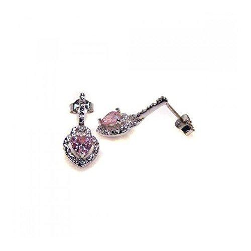 Rhodium beschichtet Sterling Silber Herz geformter rosa Zirkonia Ohrhänger (10k White Gold Rosa Herz Ring)
