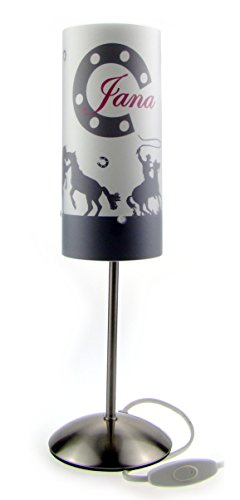 Tischlampe, Kinderzimmer Lampe, Nachttischleuchte, Kinderlampe, Schlummerlampe, Baby Lampe, mit Namen, mit Stecker für Steckdose, für LED Leuchtmittel geeignet, Junge, Mädchen, Pferd, Cowboy (Cowboys Schreibtisch)