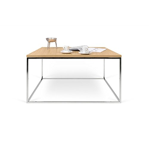Paris Prix - Temahome - Table Basse Gleam 75cm Chêne & Métal Chromé