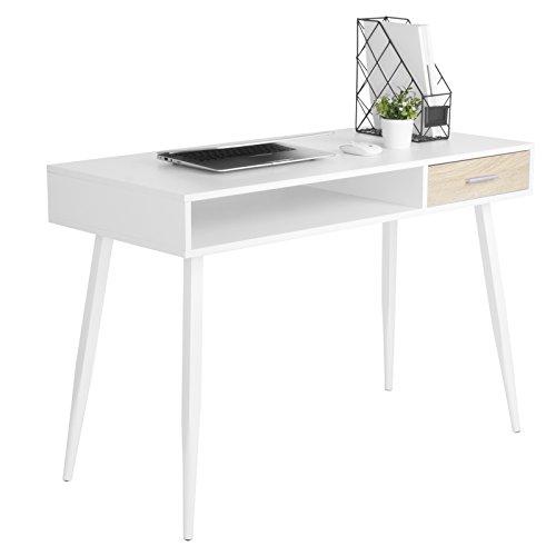 Erwachsene Laptop-schreibtisch (WOLTU Schreibtisch TS39ws Computertisch Bürotisch Arbeitstisch PC Laptop Tisch, in Melamin, mit 1 Schubladen und 1 Offenen Fach, Gestell aus Stahl, 110x50x75cm(BxTxH), Holz, Weiß)